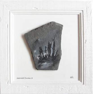 Mandy Oliphant | Slate Invisible Boundaries II | Acrylic slate on rustic frame