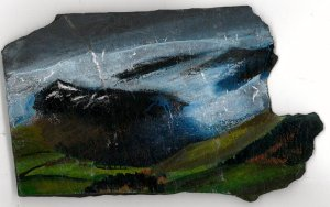 Watercolour, ink and conte crayon on slate, made from  a sketch done in situ in Corris.
