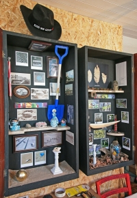Robert Lamoon, The Margate/King's Wood Wunderkabinetten Mixed Media including recycled cabinet doors, chicken netting, wood, found, made and bought curiosities, old picture postcards and photographs by the artist. h: 130cm w: 104cm d: 26cm