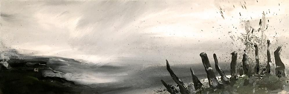 Amanda Oliphant, Forgotten Landscape II, acrylic on board, 20cm x 70cm (framed), £145