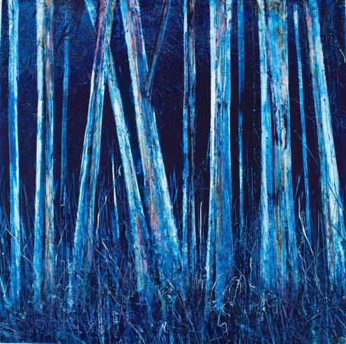Hilary Dron, Midnight Wood Oil, cold wax, pigment, marble dust