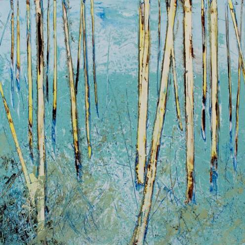 Hilary Dron, Morning Wood Oil, cold wax, pigment