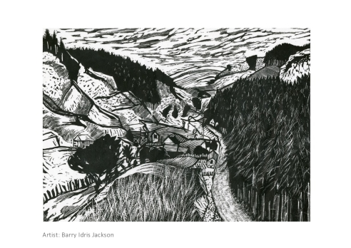 Barry Idris Jackson, Corris Hills, Lino Cut  £150 framed