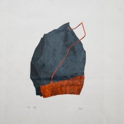 Artist: Barry Idris Jackson | England Residency Period: 2017 Title: 'Slate/rust artefact II' Medium: Reduction woodcut print Dimensions: 20cm x 30cm Price: £100