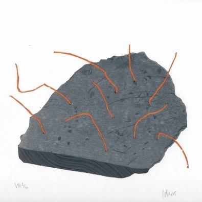 Artist: Barry Idris Jackson | England Residency Period: 2017 Title: 'Slate/rust artefact II' Medium: Reduction woodcut print Dimensions: 39.5cm x 28cm Price: £100