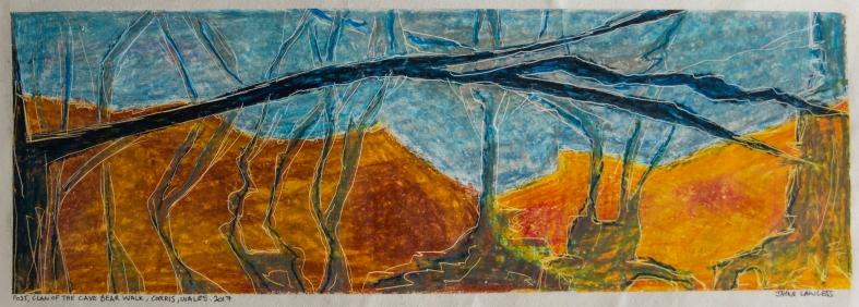 Artist: Jayne Lawless | England Title: Post, Clan of the Cave Bear Walk, Corris, Walk Medium: Oil pastel on emulsion on wallpaper Dimensions: 53cm x 21cm Price: £125