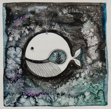 Orla Barry | Ireland Residency 2018 Title: 'Night-time in a Whale in Wales Medium: pen and watercolour Size: 19.5x21cm Price: £110