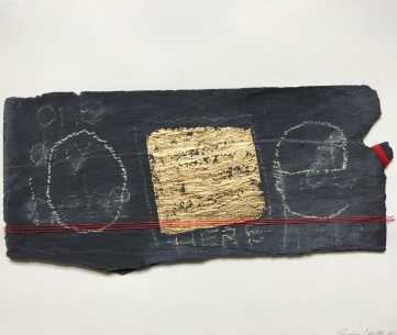 Susan Calza | USA Medium: slate, gold paint and string on paper Size: 38x28cm Price: £75