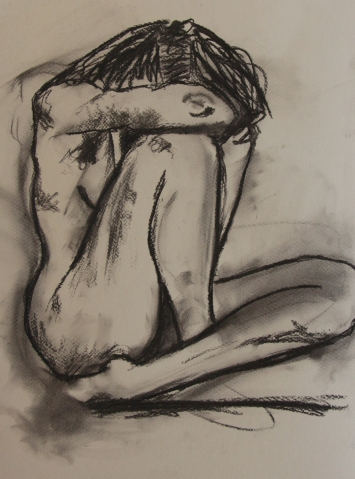 Artist: Tamsin Spargo | England Residency: 2017 Title: Sitting Figure Sketch Medium: Charcoal on Paper Dimensions: 40.6 by 30.5 cm Price: £90