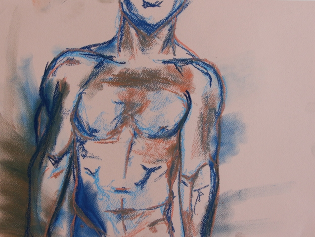 Artist: Tamsin Spargo | England Residency: 2017 Title: Male Figure Sketch Medium: soft pastel on paper Dimensions: 40.6 by 30.5 cm Price: £90
