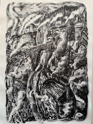 Artist: Flora McLachlan Title: 'Nightfall in Corris' Medium: lithograph Size: 54 x 72cm Price: £350