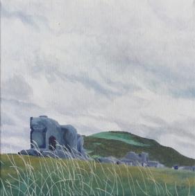 Artist: Hannah Rae Peterson | USA Residency: 2015 Title: Aberystwyth Castle Ruins Medium: Acrylic on canvas Dimensions: 30.5cm x 30.5cm Price: £100