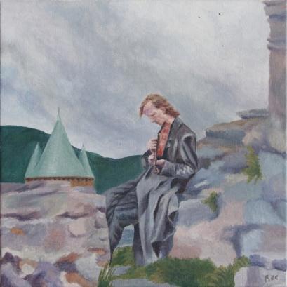 Artist: Hannah Rae Peterson | USA Residency: 2015 Title: Fiddler on the Ruins Medium: Acrylic on canvas Dimensions: 30.5cm x 30.5cm Price: £100