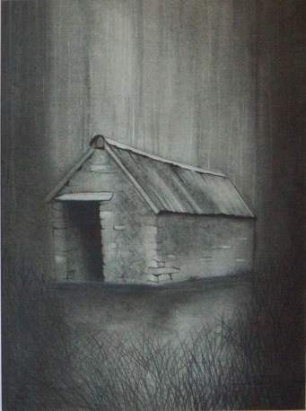 Artist: Linda Barlow | England Residency: 2017 Title: 'Bwythyn I' Medium: Charcoal on Paper Dimensions: 40cm x 53.5cm Price: £200