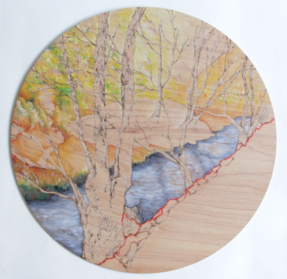 Artist: Michelle Loa Kum Cheung | England Residency: 2016 Title: Afon Dulas Medium: Oil pyrography on wood Dimensions: 51.5 cm in diameter Price: £300