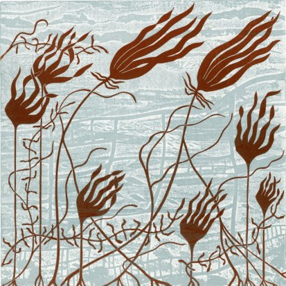 Molly Brown | Wales Title: Oarwood Media: etched and carved Lino Size: 22x22cm Price: £150