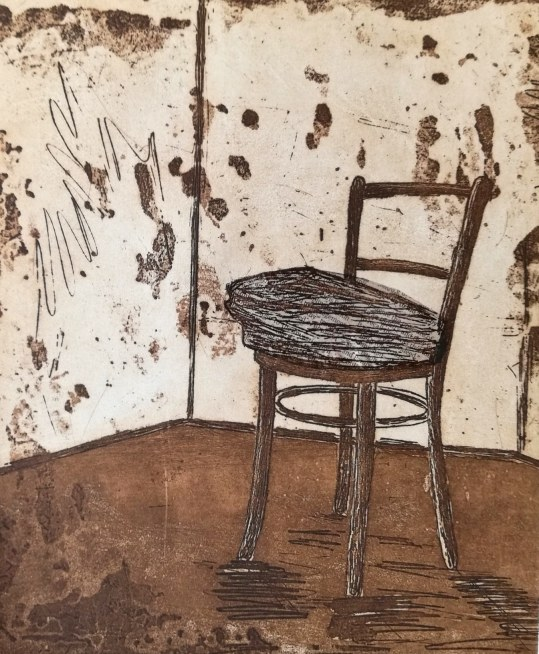 Artist: Pamela de Brí Title:Old News Medium: etching and chine colle Size: 35 x 25 cm Edition of 7 Price: £80