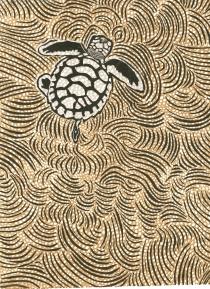 Artist: Veronica Calarco | Australia Titled: 'Crwban y môr' Medium: Lino cut, screen print and chine colle Dimensions: 42cm x 30cm Price: £120