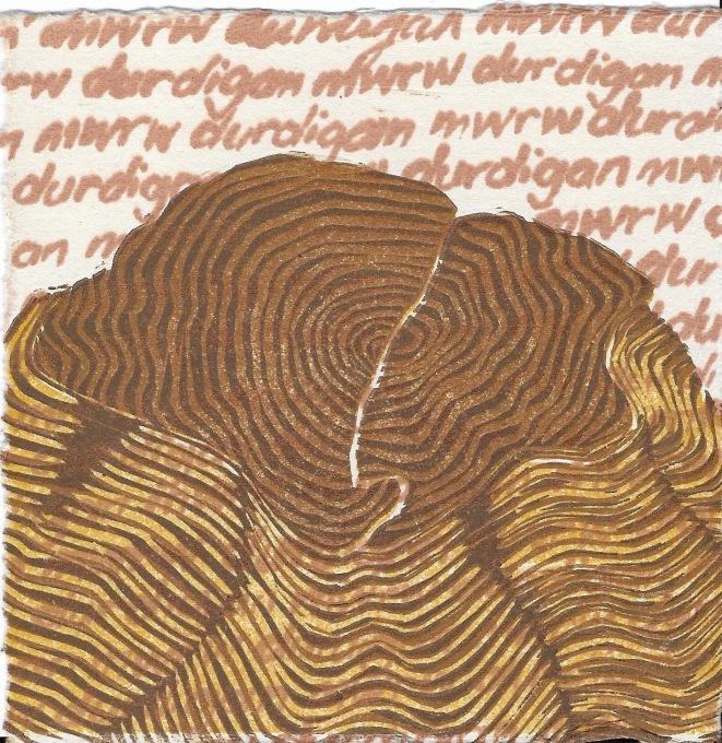 Veronica Calarco Title: Durdigan / marw Medium: screenprint / reduction linocut Size: 12cm x12cm Price: £25