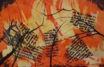 Pamela de brí Title: Fís, (Vision) Medium: drypoint, carborundum and chine collé Edition: 3/3 Size:26 x 45cm Price: £75