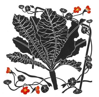 Molly Brown | Wales Autumn Garden Linocut Print size 17.5 x 17.5 cm Paper size 29.5 x 29.5 cm Price: £65