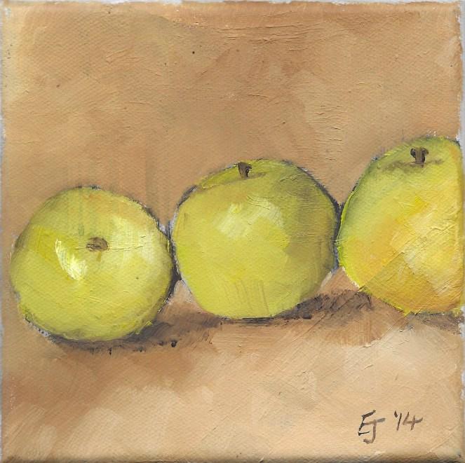 Emma Jayne Holmes | Cymru Title:3 golden apples Size: 15.2 x 15.2cm Medium: acrylic on canvas Price: unframed: £150
